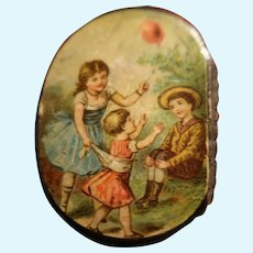 Antique Doll Accessory Litho Box Children  On Lid /Boy/Girl/Child Paper Mache Box