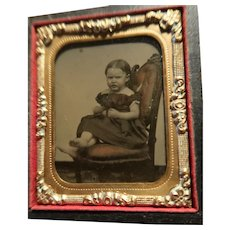 Wonderful Ambrotype Photo Girl In Case Barefoot