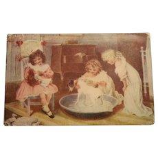 1907 Mailed Stamped Postcard Doll/Children/Dog