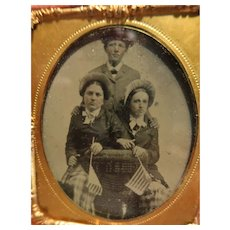 Ambrotype In Case Salvation Army/Flags Young Girls/Gentleman