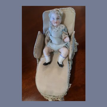 "3"" All Bisque Doll With Chaise Lounge"