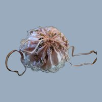 Pink Satin Drawstring Doll Purse Accessory With Attached Mirror