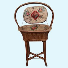 Adorable Wicker Sewing Basket For Antique Doll