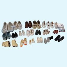Nice Vintage Lot of Doll Shoes 21 Pairs Including Skates