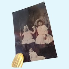 Adorable Tintype Of Two Girls (Probably Sisters) And Doll