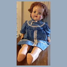 "Large 25"" Unmarked Composition/Cloth Doll"