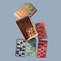French Lotto (Bingo) Game In Original Wooden Box