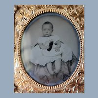 Ambrotype Baby Girl No Shoes Holding Shoe In Case