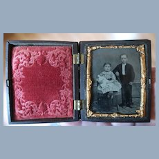 Union Thermoplastic Case With Childrens And China Head Doll Tintype