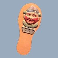 Vintage Early 20th Century Halloween Noise Maker Clapper German Clown Face
