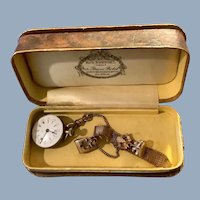 Antique Tiny Victorian Era Gold Filled Mesh Watch Fob With Pocket Watch Chain, Wax Seal, Pocket Watch