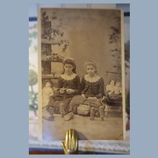 Cabinet Card Three Dolls Two Girls China Head Bisque Dolls