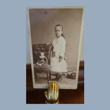 Nice CDV Of Young Girl And Her China Head Doll In Chair