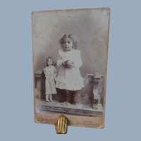 Cabinet Card German Bisque Doll Girl Ball