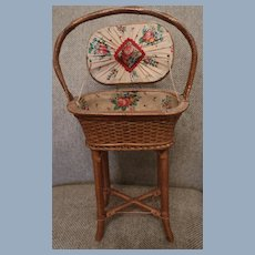 "Adorable Wicker Sewing Basket For Antique Doll 20"" Tall"