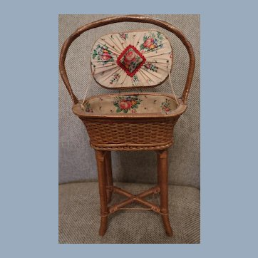 """Adorable Wicker Sewing Basket For Antique Doll 20"""" Tall"""