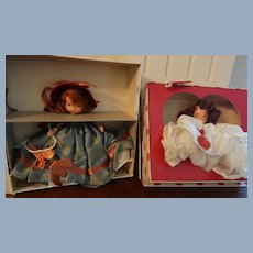 Two Boxed Nancy Ann Storybook Dolls # 193 Thursday's Child Has Far To Go And #157 Queen of Hearts
