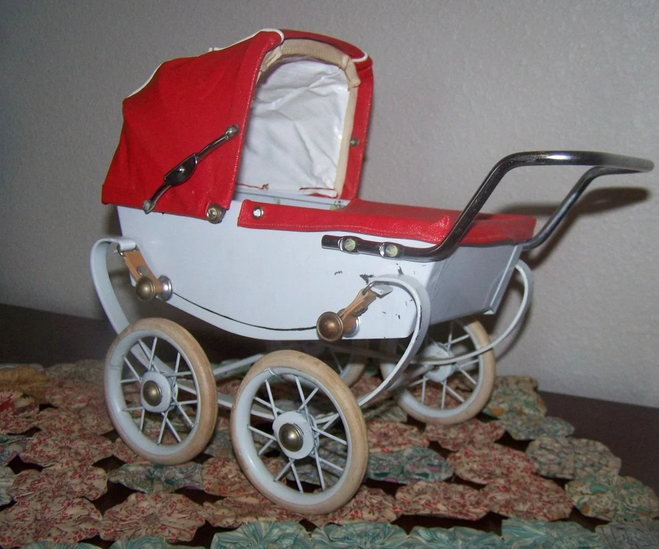 Rare Htf French Miniature Pram Carriage Buggy Made In