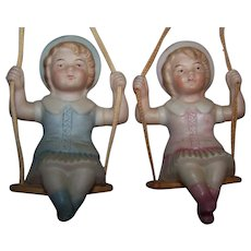 German Porcelain Dolls Children On Swings