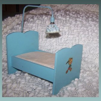 Vintage Doll Bed With Pinocchio Decal