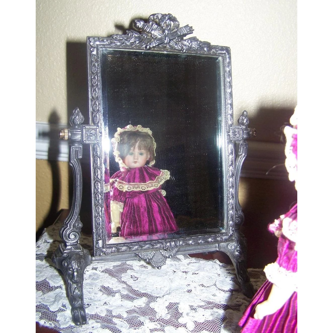 Lovely Ornate Heavy Swivel Mirror On Easel And Bye Antiques Collectibles Ruby Lane