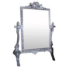 Lovely Ornate Heavy Swivel Mirror On Easel