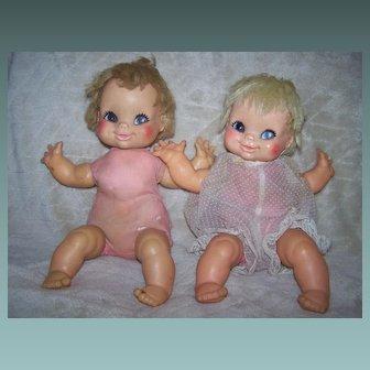 Twin Eegee Dolls Cloth Bodies Both Marked 14 B T, Eegee Co.
