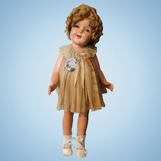 "25"" Shirley Temple Composition Doll Original Dress"