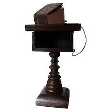 Antique Oak Lectern With Its Leather Bound Bible & Magnifying Glass 1919