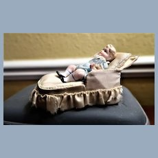 "Adorable 3"" All Bisque Doll Bent Knees With Chaise Lounge/Pillow"
