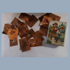 Miniature Litho Box Container Copper Doll Size Stencils  FREE USA SHIP