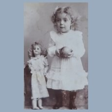 Cabinet Card Girl/Ball/Large Bisque German Doll