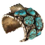 Vintage 1960's Navajo Morenci Turquoise Watch Cuff Bracelet