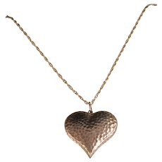 Vintage Sterling Silver Hammered Puff Heart Necklace
