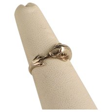 Vintage Sterling Dolphin Ring