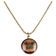 1970's Cloisonne` Butterfly Pendant Necklace