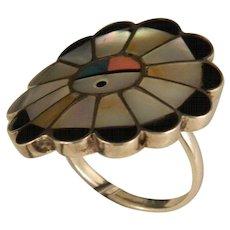 Zuni Sun Face Vintage Ring Circa 1970's Size 6