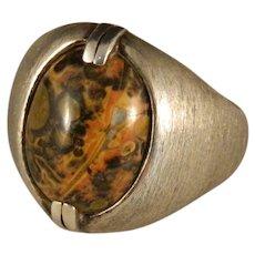 Vintage Sterling Silver Leopard Skin Jasper Ring Size 10