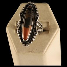 Vintage Petrified Wood Sterling Silver Ring Size 8 1/2
