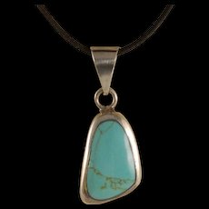 Vintage Taxco Sterling Silver Turquoise Large Pendant