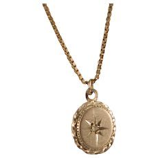 Vintage 1960's Sterling Silver Diamond Starburst Necklace