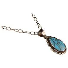 Vintage Zuni Turquoise Sterling Silver Pendant and Chain Neclace