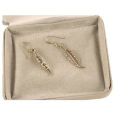Vintage Sterling Silver  Southwest Feather Earrings
