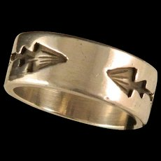 Vintage Sterling Silver Hopi Style Arrowhead Wedding Band Size 9