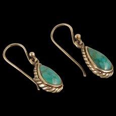 Vintage Sterling Silver Turquoise Pear shape Dangle Earrings