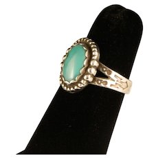 Vintage Sterling Sliver Robins Egg Blue Turquoise Harvey Era Ring