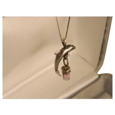 Sterling Silver Vintage Dolphin and Watermelon Tourmaline Pendant and Chain