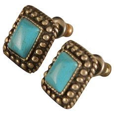 Vintage Sterling Silver Navajo Style Turquoise Earrings