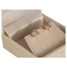 Estate Diamond Stud Earrings 1.20 Carat Total weight