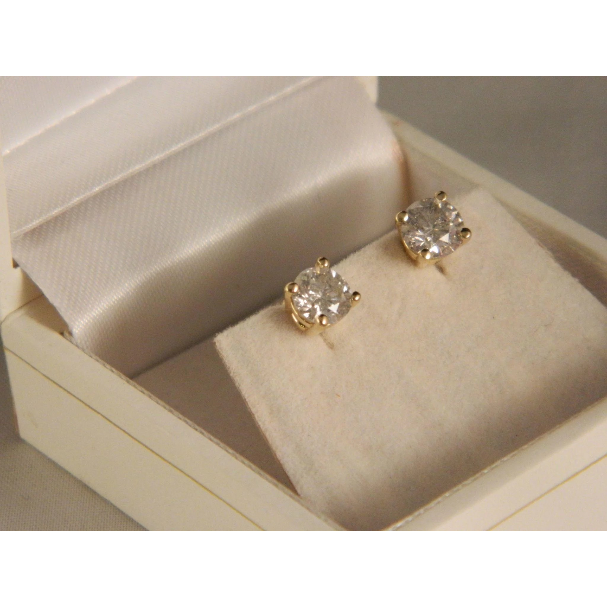 Sterling Silver and Vermeil Studs Made In Maine 1 Carat Total Weight Per Pair \u2013 5 Millimeter Rounds 6 Pairs of GENUINE GEMSTONE STUDS